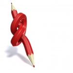 A twisted red pencil