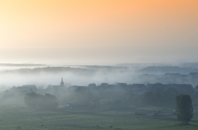 Fog over village